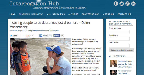 Interrogation Hub Interview: Inspiring people to be doers not just dreamers-Quinn Vandenberg with Life Out of the Box. LOOTB Press.