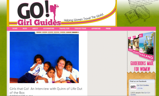 Quinn from Life Out of the Box interview with Go Girls Guides. Girls that GO!