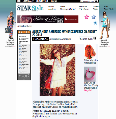 Star Style-Alessandra Ambrosio wearing Life Out of the Box Pretty PINK bracelet