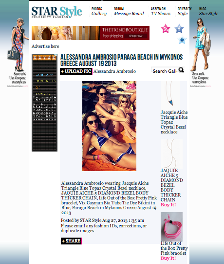 Star Style-Alessandra Ambrosio wearing Life Out of the Box Pretty PINK bracelet in Greece