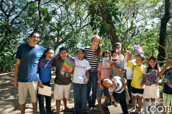 Us giving school supplies at the Peace Project in Laguna de Apoyo, Nicaragua