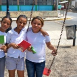 Friends in Nicaragua with new notebooks