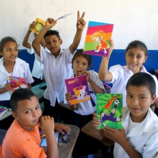 Happy kids with notebooks!