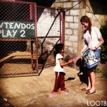 Quinn giving in Masaya, Nicaragua