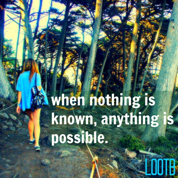 LOOTB Inspiring Quotes: When Nothing is known anything is possible.